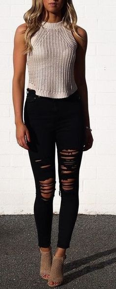 Black distressed denim + knit top.