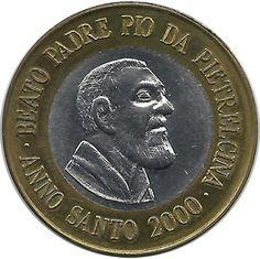 Euro prueba Vaticano 1 euro 2000 Padre Pio da Pietrelcina.