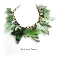 Polymer Clay Ivy Leaf Necklace