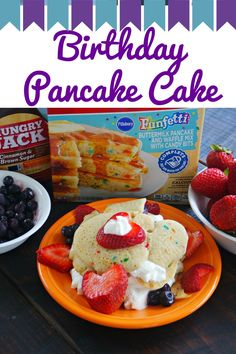 Birthday Pancake Cake: A birthday breakfast the kids can make for someone! Let…