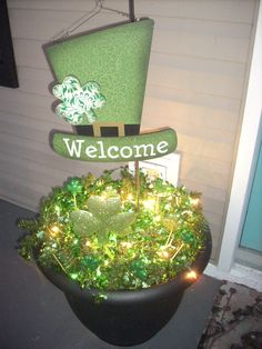 St. Patricks Day Porch decoration I made. Shown at night with lights!