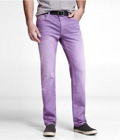 Express Mens Alec Colored Super Skinny Jean Purple