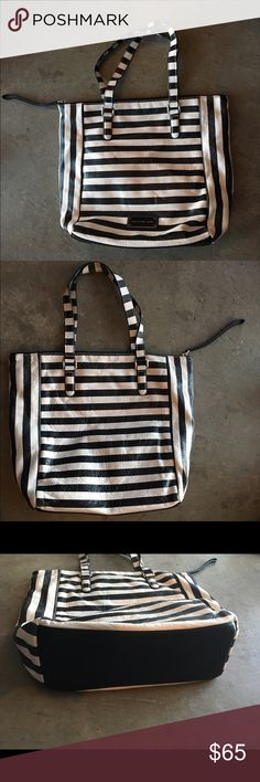 """MARC BY MARC JACOBS STRIPED LEATHER TOTE STRIPED leather take me tote, used maybe a handful of times, pretty much brand new 9/10                       pebbled leather tote. Silver hardware. Flat tote straps, 9"""" drop. Zip top with looped pull. Enameled logo plate. Nylon logo lining. Inside, one zip and one open pockets. 13 1/2""""H x 11""""W x 4""""D. Bag weighs approx. 2lbs. Imported. Marc by Marc Jacobs Bags Totes"""