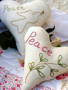 peace christmas ornaments - to BUY, no pattern, just for my inspiration. It is so easily replicated. even I could sew Peace! I love it, not the price though! xox