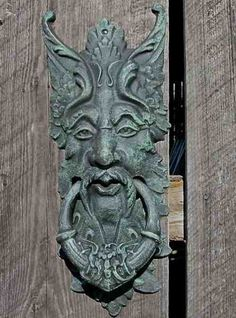 Mystical Green Man will keep a watchful eye at gate or front door while greeting visitors with unique style. Large door knocker or gate keeper retains a timeless appeal, a symbol of spring and rebirth. Door handle for Whimsical garden.