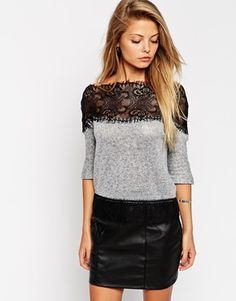 ASOS+Jumper+in+Soft+Fabric+with+Lace+Off+Shoulder