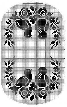 Vintage Filet Crochet - Birds & Roses - Chair Back & Oval Doily Crochet Table Runner, Crochet Tablecloth, Crochet Doilies, Cross Stitch Bird, Cross Stitch Embroidery, Cross Stitch Patterns, Doily Patterns, Embroidery Patterns, Crochet Patterns