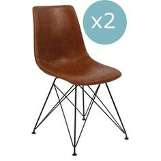 Breazz - Set van 2 Scandi stoelen Cognac Eames, Indoor, Chair, Vintage, Furniture, Home Decor, Interior, Room Decor, Stool
