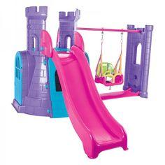 Lasa-i pe copii sa descopere aventura cu noul centru de joaca, in forma de castel Swing And Slide, Castle, Purple, Toys, Castles, Viola