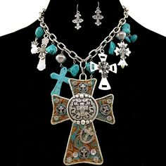 Western Peak Western Tooled Cross Rhinestone Pendant with Charms Necklace and Earrings -- Continue to the product at the image link.