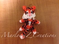 Rainbow Loom BABY TIGER - Bengal. Designed and loomed by MarloomZ Creations. Click photo for YouTube tutorial.