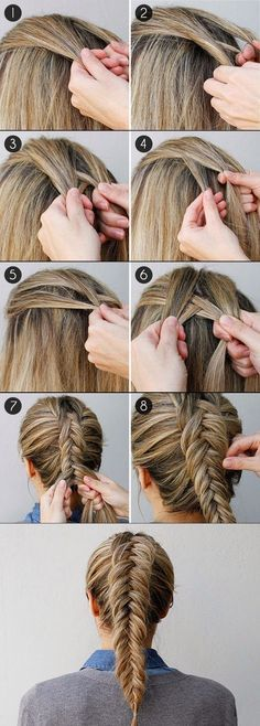 Inverted Dutch Fishtail Braid # fishtail Braids two How to Get an Inverted Fishtail Braid That's Sure to Impress - Braiding Your Own Hair, Your Hair, Pretty Hairstyles, Easy Hairstyles, Hairstyle Ideas, Wedding Hairstyles, Protective Hairstyles, Fishtail Hairstyles, Long Hairstyles