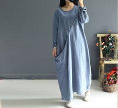 Women cotton linen long sleeve dress