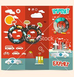 Transport - export import red retro brochure vector 4149461 - by mejn on VectorStock®