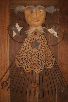 Primitive Angel Stars Rusty Lawn Rake Christmas OOAK   eBay