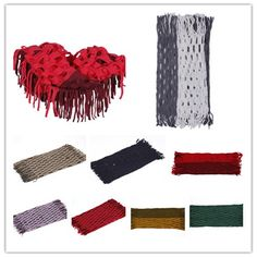 Multi-color Fashion Warm Tassel Knitting Scarf  Two Circle Hole #eozy