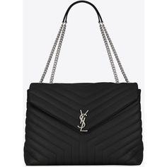 Saint Laurent Large Loulou Monogram Saint Laurent Chain Bag (15.235 DKK) ❤ liked on Polyvore featuring bags, handbags, shoulder bags, satchel purses, genuine leather purse, real leather purses, leather satchel handbags and slouchy purses