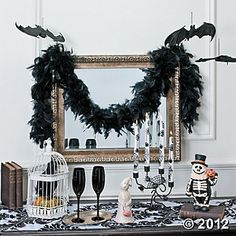 DIY Black and White Halloween Tablescape