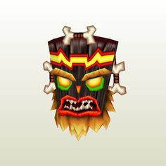 This papercraft is Uka Uka, one of the main antagonists in the Crash Bandicot video game series and a voodoo mask spirit who is the younger twin brother of Witch Doctor, Crash Bandicoot, Video Game Characters, Anime Characters, Playstation, Leo Tattoo Designs, Papercraft Download, Tiki Mask, Leo Tattoos