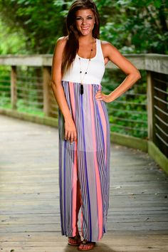 This tank top style maxi is awesome! The cool vertical stripes and the detail on the back is gorgeous! A must have maxi!