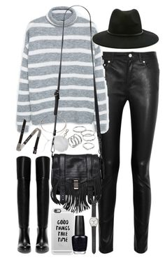 """""""Outfit for winter"""" by ferned ❤ liked on Polyvore featuring Acne Studios, MANGO, Casetify, Apt. 9, Topshop, Forever 21, Proenza Schouler, McQ by Alexander McQueen, Zara and OPI"""