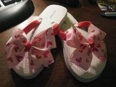 White Flip Flops with hearts Ribbon