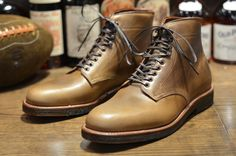 Alden Tanker Boot for Leather Soul. These look almost olive in the picture; I'm not sure if they've been post-processed, since natural CXL doesn't quite look like that straight from Horween.