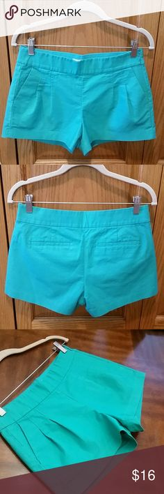 """🌞J. Crew Heavyweight Pleated Teal Shorts Last pic is best resembles actual color...a blue-green teal. Nicely textured with pleated front and side pockets. Rear button pockets and side zip enclosure. Length 11.75""""  and waistline measures 14.75"""" across top hem. Inseam 2.75"""". Excellent like new condition. I am not even sure if these were worn. They look brand new and we're hiding in my closet. Tagged size 4. J. Crew Shorts"""