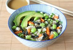 Super yummy easy sushi-salad. Huge portions! If you like sushi, consider making it. We give it 2 thumbs up!