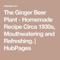 The Ginger Beer Plant - Homemade Recipe Circa 1930s, Mouthwatering and Refreshing. | HubPages