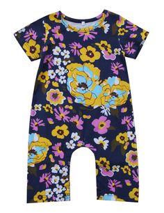 900645090f5 Baby Girls Floral Long Romper Bodysuit Toddler Short Sleeve Flowers Print  Cotton Pants 1824M Purple     Visit the image link more details.