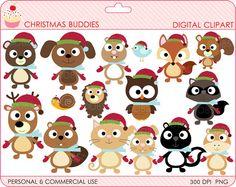 christmas clipart digital clip art animals owls by DigitalBakeShop