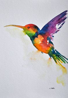 ORIGINAL Watercolor painting Rainbow Hummingbird Illustration 6x8 inch