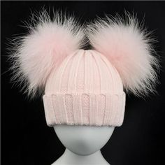 1afcbad88fc Winter Baby Knit Hat With Two Fur Pompoms Boy Girls Natural Fur Ball Beanie  Kids Caps Double Real Fur Pom Pom Hat for Children