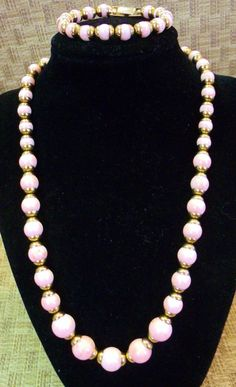 Girl's 1984 Avon Pink Marbled Lucite Bead Necklace Bracelet Set ~Dainy Young Lady's  Pink Swirl Beaded Necklace/ Bracelet Set by EclecticJewells on Etsy