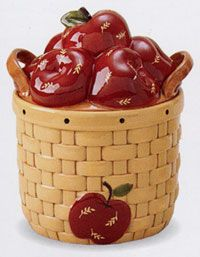 Love the apples; this matches my kitchen. Apple Kitchen Decor, Kitchen Themes, Kitchen Ideas, Kitchen Design, Antique Cookie Jars, Apple Cookies, Apple Decorations, Apple Theme, Vintage Cookies