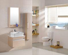 Meuble salle de bain LE THÉ AU LAIT ( 600mm + Colonne 1.2m )