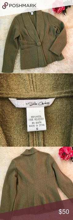 TSD by Stella Carakasi Wool Jacket Cute and cozy army green wool jacket in perfect condition tsd by Stella Carakasi Jackets & Coats Blazers