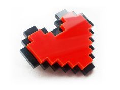 Pixel Heart Brooch - Glitterbomb