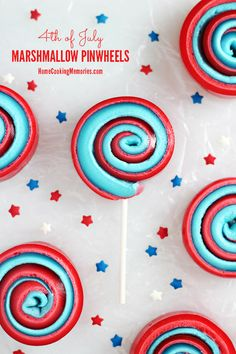 4th of July Marshmallow Pinwheels - a simple  festive sweet treat-on-a-stick that kids will love!  #12Bloggers #4thofJuly