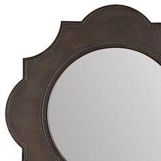 Bernhardt. Belgian Oak Mirror, blackened metal wrapped, nailheads