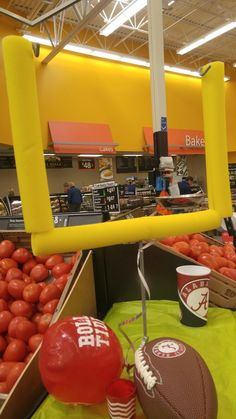 """Goal post with pool noodles. VBS """"Game On! Flag Football Party, Football Banquet, Football Crafts, Bible School Snacks, Bible School Crafts, Tailgate Decorations, School Decorations, Sunday School Classroom, Vbs Themes"""