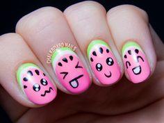 Kawaii watermelon nail art - cute nail ideas by @chalkboardnails