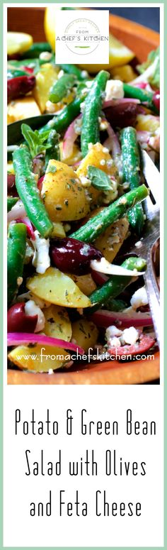 Potato Green Bean Salad with Olives and Feta Cheese is a lovely Greek-inspired twist on traditional potato salad! via @chefcarolb