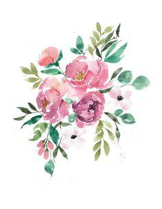 Blush Peony & Ferns Watercolour Art Print