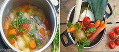 Slik lager du grønnsakskraft Raw Vegan, Thai Red Curry, Vegetarian, Stuffed Peppers, Pure Products, Vegetables, Ethnic Recipes, Food, Veggies