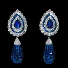 Pear and Briolette cut sapphire and diamond earrings