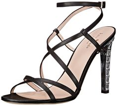 kate spade new york Women's Fiandra Dress Sandal, Black Nappa, 9 M US. Strappy dress sandal featuring adjustable buckle closure and jewel-accented high heel. Kate Spade Designer, Kate Spade Sandals, Shoe Collection, Designer Collection, Womens Golf Shoes, Strappy Shoes, Dress Sandals, Shoes Sandals, Designer Shoes
