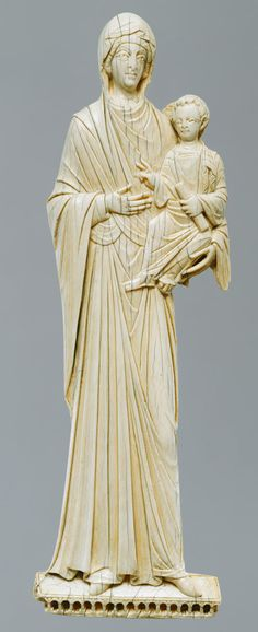 Icon with the Virgin and Child - Ivory.  Carved mid 10th-11th century.  Met Museum.