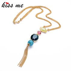 KISS ME Fashion Jewelry  Elegant Gold Plated Beaded Long Pendant Necklace Women Factory Wholesale